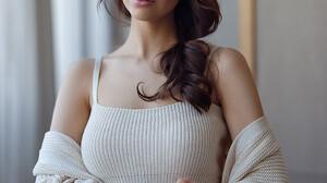 Alexey Kazantsev Women Brunette Long Hair Curly Hair Blue Eyes Looking Away Sweater Painted Nails In 972x1296 Wallpaper