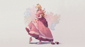Princess Peach Long Hair Blonde Blue Eyes Pink Dress Crown Sneakers Converse 3641x2048 Wallpaper