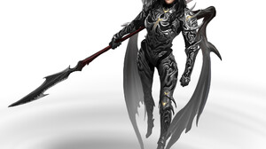 Mikhail Palamarchuk Artwork Women Spear Weapon Fantasy Girl Fantasy Art ArtStation Simple Background 2000x1880 Wallpaper