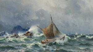 Herman Gustav Sillen Artwork Painting Classic Art Sea Boat Vehicle Storm Waves 2954x1684 Wallpaper