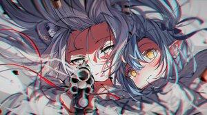 Anime Anime Girls Gun Long Hair Yellow Eyes Anaglyphic Blue Hair Looking At Viewer Smoke Animal Ears 2629x1150 Wallpaper