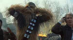 Chewbacca Finn Star Wars Han Solo Harrison Ford John Boyega Star Wars Star Wars Episode Vii The Forc 2048x858 Wallpaper
