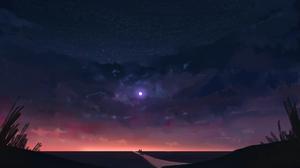 Digital Art Illustration Artwork Night Moon Clouds Sky Couple Stars DeviantArt Concept Art 1920x1080 wallpaper