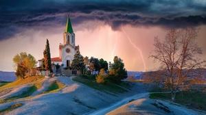 Spain Church Building Sky Lightning Outdoors 2560x1440 Wallpaper