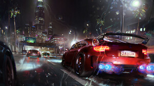 Street Racing Car Rain Wet Street Digital Art Digital Painting Fan Art Artwork 1920x1152 Wallpaper