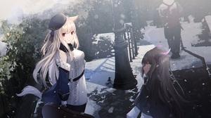 Anime Anime Girls Digital Art Artwork 2D Portrait Sagiri Ulpha220 Animal Ears Tail Horns Snow 2500x1250 wallpaper