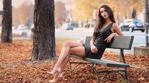 Brunette Model Dress Legs Outdoors Alex Siracusano 3840x2560 wallpaper