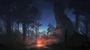 Lok Du Digital Art Fantasy Art Camp Swamp Trees Statue 1920x1063 Wallpaper
