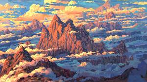 Artwork Digital Art Mountains Nature Clouds 3700x2700 Wallpaper