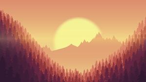 Forest Landscape Trees Sunset Digital Art Artwork Sun Mist Mountains Sky Hills Nature 8000x6096 Wallpaper