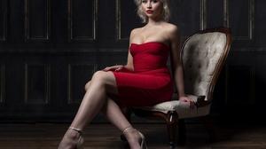 Model Women Blonde Dark Eyes Dress Red Dress Strapless Dress Lipstick Red Lipstick Bare Shoulders Le 3840x2773 Wallpaper
