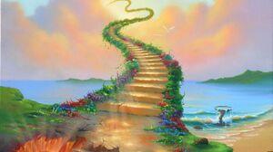 Painting Stairs Sky Bird Ocean Flower 2118x1692 Wallpaper
