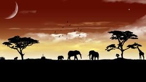 Silhouette Africa Elephant Giraffe Sunset 1920x1080 Wallpaper