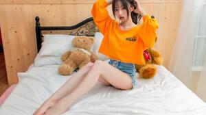 Asian Model Women Long Hair Brunette Sitting Shorts Bed Pullover Teddy Bears Pillow Ponytail Barefoo 1920x1285 Wallpaper