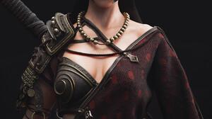 Artwork 3D Render CGi Fantasy Art Fantasy Girl Dylan Kowalski Dark Hair Green Eyes Warrior 1240x1754 Wallpaper