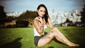Levy Tran Women Model Actress Tattoo Grass Sunlight Outdoors Asian Legs 1280x847 Wallpaper