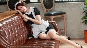 Asian Model Women Long Hair Dark Hair Maid Sitting Couch Black Heels Chair Plants Flowerpot Maid Out 3840x2737 Wallpaper