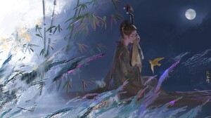 Artwork Fantasy Art Asian Women Traditional Clothing Bamboo Moonlight Lute ORin Of The Water 1920x983 Wallpaper