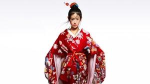 Asian Black Hair Girl Kimono Lipstick 5200x2630 Wallpaper