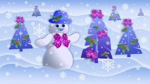 Snowman Christmas Tree Snowflake 2560x1439 wallpaper