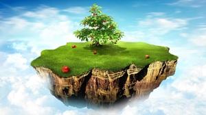 Cloud Floating Island Grass Island Rock Sky Tree 1920x1200 Wallpaper
