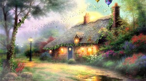 Fairy Fantasy Flower Hot Air Balloon House Tree 1920x1200 Wallpaper
