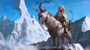 Animal Bow Girl Horns Mountain Redhead Woman Warrior 5000x3000 Wallpaper