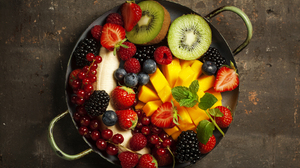 Banana Berry Blackberry Blueberry Currants Fruit Kiwi Mango Strawberry 5616x3744 Wallpaper