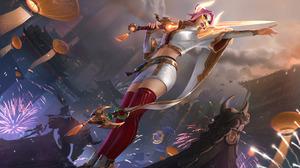 Fiora League Of Legends Lunar Beast Event Moon Japan China Korean League Of Legends Riot Games 7680x4320 Wallpaper