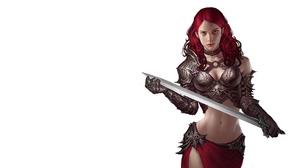 Blue Eyes Girl Red Hair Sword Woman Warrior 4024x2136 Wallpaper