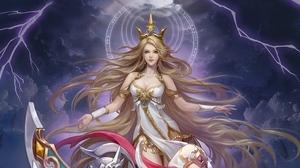 Blonde Crown Fantasy Girl Lightning Woman 3000x1612 Wallpaper