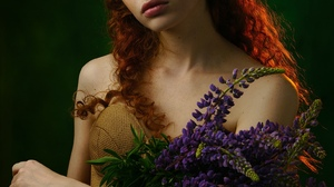 Alexander Dyachenko Women Redhead Long Hair Curly Hair Makeup Blush Freckles Looking At Viewer Dress 1543x2160 Wallpaper