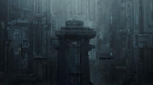 Arthur Yuan Dystopian Futuristic Dark Cityscape Artwork 3840x1634 Wallpaper