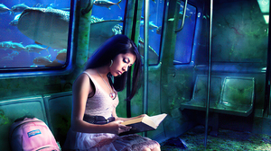 Bag Book Fish Reading Underwater Woman 3200x2360 Wallpaper