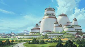 ArtStation Digital Art Illustration Cara Stratton Architecture Concept Art Studio Ghibli Castle Clea 2753x1274 Wallpaper