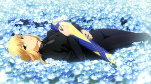 Blonde Flower Girl Green Eyes Lying Down Saber Fate Series 5992x4301 Wallpaper