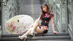 Asian Model Women Long Hair Dark Hair Traditional Clothing Stairs Sitting Japanese Umbrella Depth Of 3840x2560 Wallpaper