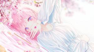 Blue Eyes Cherry Blossom Long Hair Pink Hair Tattoo 3086x1600 Wallpaper