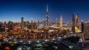Night City Light Building Skyscraper United Arab Emirates 2500x1385 Wallpaper