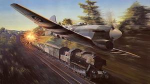 Artistic Airplane Hawker Tempest Warplane Train 1920x1142 Wallpaper