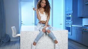 Women Torn Jeans White Sneakers Smiling 2999x2000 Wallpaper