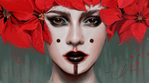 Artistic Face Girl Leaf Lipstick Poinsettia Woman 1920x1080 Wallpaper