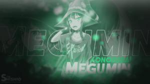 Megumin KonoSuba Kono Subarashii Sekai Ni Shukufuku Wo Green Anime Girls 1920x1080 Wallpaper