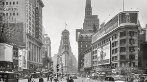Photography Car USA New York City Monochrome Street Shorpy Flatiron Building 1930s People Old Car Cl 2400x1721 Wallpaper