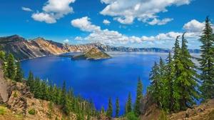 Crater Lake Island Lake Nature Oregon Usa 2048x1152 Wallpaper