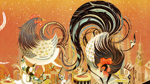 Chinese New Year Colorful Oriental Rooster 2880x1800 Wallpaper