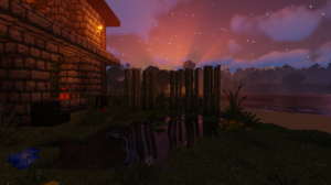 Minecraft Minecraft Nether Landscape Building Lava Bridge Nature Plants Flowers Sky Colorful Green P 2498x1417 Wallpaper