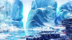 Fjord Ice Landscape White 7200x3000 Wallpaper