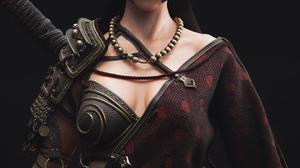 Dylan Kowalski CGi Women Warrior Dark Hair Green Eyes Looking Away Cloth Weapon Ropes Simple Backgro 1240x1754 Wallpaper