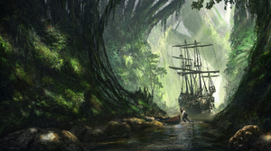 Forest Jack Sparrow Pirate River Ship Tiger 1920x1092 Wallpaper
